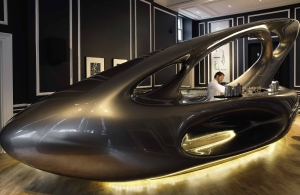 The futuristic Zaha Hadid designed bar at Home House